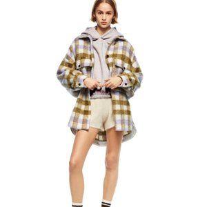 Zara Overshirt shacket Plaid Coat Beige Yellow